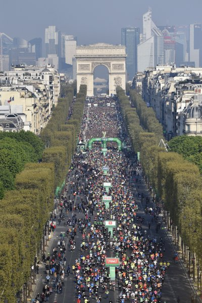 A competitor in Sunday's Paris Marathon broke a world record when she completed the race in high heeled shoes. Photo by Julien De Rosa/EPA-EFE