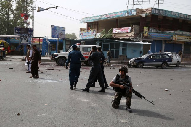 At least 18 people were killed and 45 more were injured in a suicide bombing outside the governor's compound in the Afghan city of Jalalabad on Sunday. Photo by Ghulamullah Habibi/EPA
