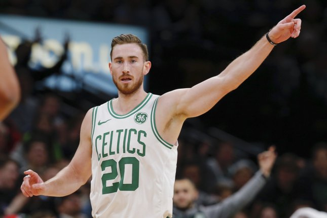 Boston Celtics forward Gordon Hayward sustained a broken left hand during the team's win over the San Antonio Spurs on Saturday night. File Photo by CJ Gunther/EPA-EFE