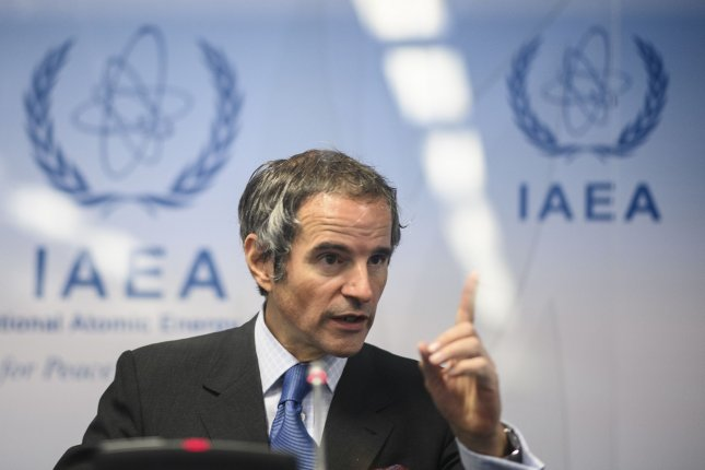 Director General of the International Atomic Energy Agency Rafael Mariano Grossi attends a press conference during an IAEA Board of Governors meeting at the IAEA headquarters of the U.N. seat in Vienna, Austria, on Monday. Photo by Christian Bruna/EPA-EFE
