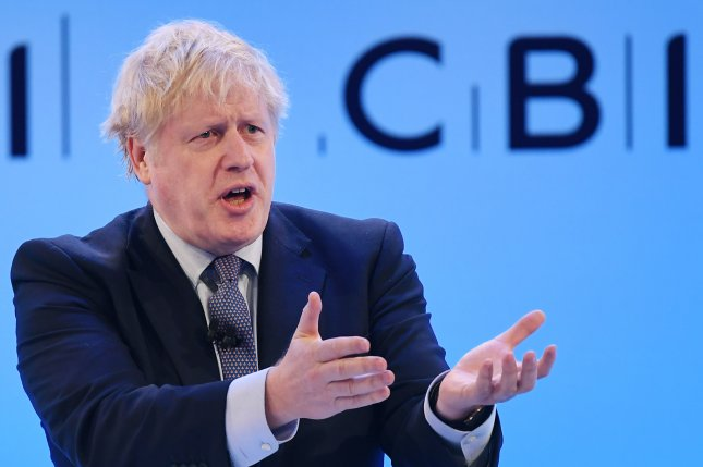 British Prime Minister Boris Johnson speaks Monday at the annual Confederation of British Industry Conference in London, Britain. Photo by Andy Rain/EPA-EFE