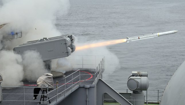 An Evolved Sea Sparrow missile is launched from the aircraft carrier USS Carl Vinson. Photo by Petty Officer 3rd Class Patrick Green/U.S. Navy