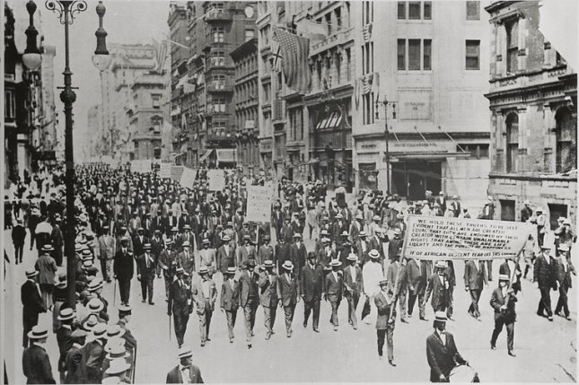 Thousands of Black Americans march down New York City's Fifth Avenue in the so-called Silent Parade on July 28, 1917. The demonstrators were marching to promote civil rights. File Photo courtesy of the New York Public Library