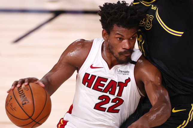Miami Heat forward Jimmy Butler said he promised team president Pat Riley and coach Erik Spoelstra that he would win a championship for the franchise, and he plans to accomplish that goal in 2021. Photo by Erik S. Lesser/EPA-EFE