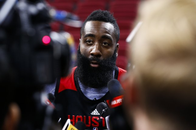 James Harden of the Houston Rockets is interviewed by journalists during a team practice at the LeSports Center in Beijing, China, 11 October 2016. EPA/ROLEX DELA PENA