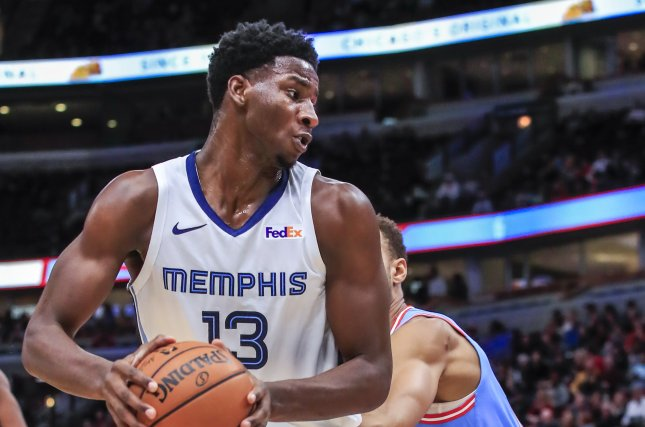 Memphis Grizzlies forward Jaren Jackson Jr. (13) had been one of the team's top contributors in the first three contests inside the bubble, averaging 25.3 points per game. File Photo by Tannen Maury/EPA-EFE