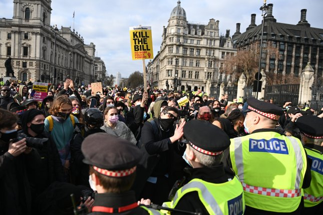 Protesters rally in 'Kill the Bill' protest Saturday in London. Photo by Neil Hall/EPA-EFE