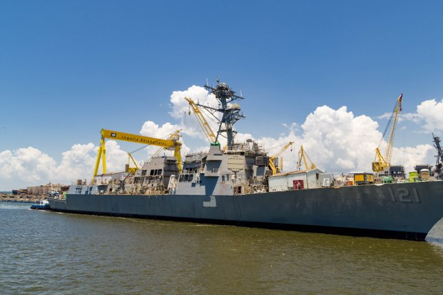 An Arleigh-class destroyer, similar to one seen here under construction at Huntington Ingalls industries in Pascagula, Miss.,will be named to honor former U.S. Senator Ted Stevens, the U.S. Navy announced. Photo courtesy of Huntington Ingalls Industries