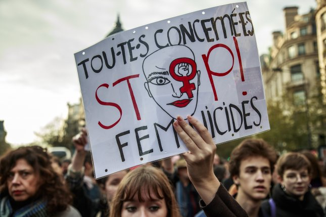 Protesters march in Paris, France, to oppose violence against women, on November 23, 2019. File Photo by Christophe Pettit Tesson/EPA-EFE