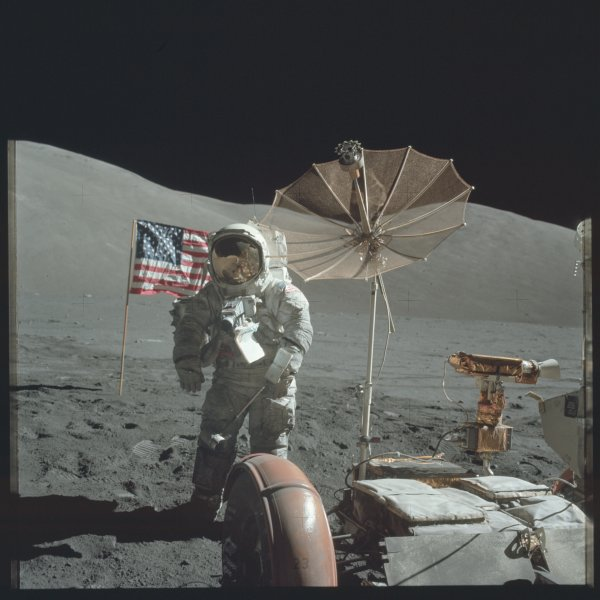 A moon rock collected by NASA astronauts on the Apollo 17 mission in 1972 was considered lost for decades after being presented to the state of Louisiana, but it has now been returned to the Louisiana State Museum by a Florida gun collector who purchased the plaque to use for gun stock repairs. File Photo courtesy of NASA.