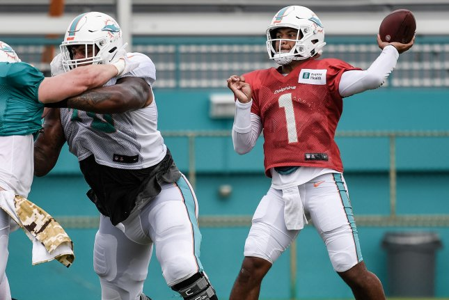 Miami Dolphins quarterback Tua Tagovailoa (shown throwing at practice) completed 2 of 2 pass attempts for 9 yards in a win over the New York Jets on Sunday in Miami Gardens, Fla. Photo courtesy of Peter McMahon/Miami Dolphins
