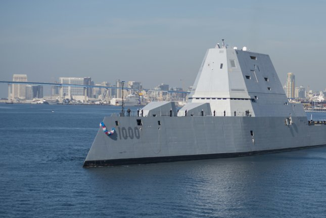 The guided-missile destroyer USS Zumwalt arrives at its homeport in San Diego in December 2016. Photo by Petty Officer 3rd Class Emiline L. M. Senn/U.S. Navy