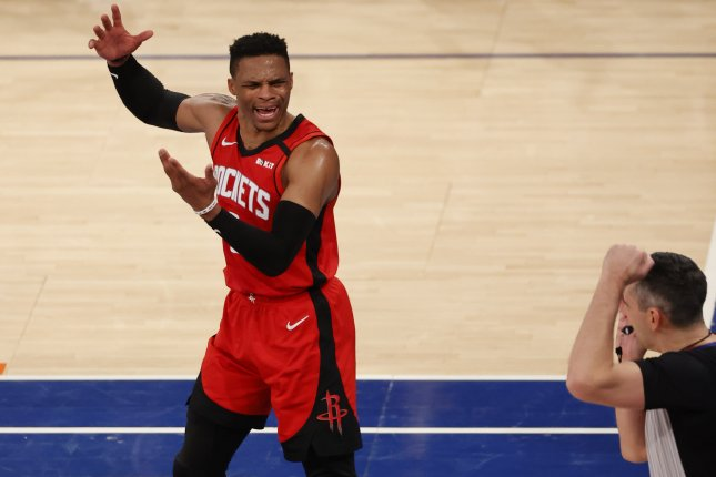 Houston Rockets guard Russell Westbrook averaged 27.2 points, 7.9 rebounds and seven assists in his lone season with the Rockets. File Photo by Jason Szenes/EPA-EFE