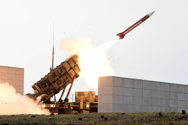 A Patriot missile is fired at a shooting range in Daecheon, South Chungcheong Province, South Korea on November 2, 2017. File Photo by Yonhap News Agency/EPA