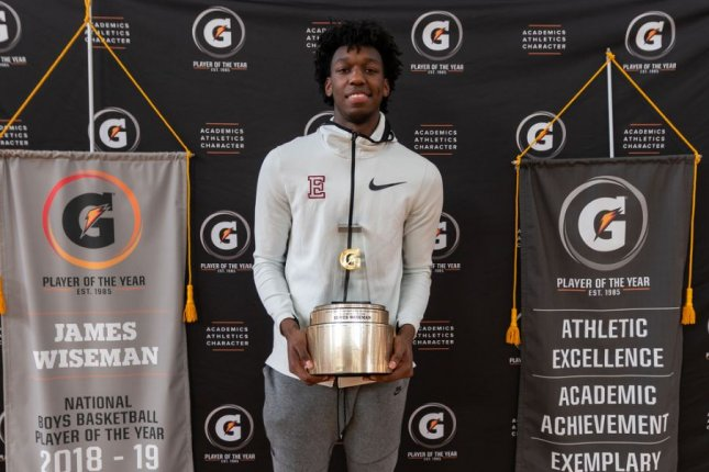 Memphis East High School star James Wiseman averaged 25.8 points, 14.8 rebounds, 5.5 blocks and 1.3 steals per game during his senior season. The 7-foot, 230-pound center is signed to play at Memphis in 2019. Photo courtesy of Gatorade