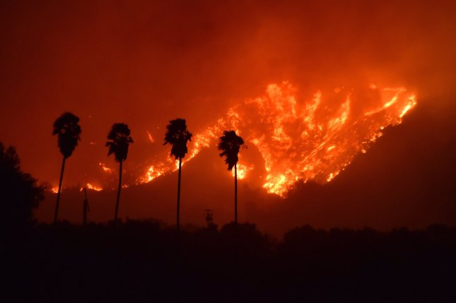 The Thomas Fire burns in Ventura County, Calif, on Monday, where officials said more than 26,000 acres have been burned and one person has died. Photo courtesy Ventura County Fire Dept./Twitter