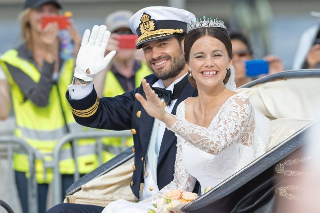 Prince Carl Philip and Princess Sofia on their wedding day June 13, 2015. File Photo by Stefan Holm/Shutterstock