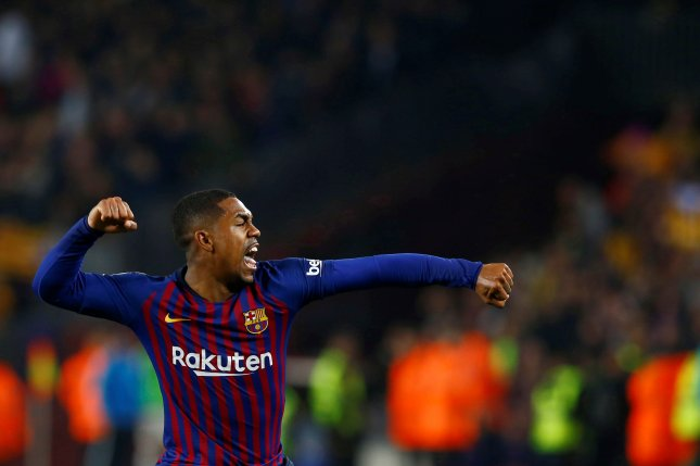 Barcelona's Malcom Filipe Silva de Oliveira celebrates after scoring the tying goal against Real Madrid during a Spanish Cup semifinal first leg soccer match at Camp Nou in Barcelona, Catalonia, Spain, on Wednesday. Photo by Enric Fontcuberta/EPA-EFE