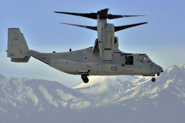 A V-22 Osprey makes its final approach for landing on the island of Crete for a stopover on February 24, 2010. Photo by photo by Paul Farley/U.S. Navy