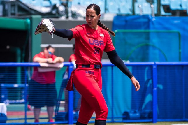 Ace pitcher Cat Osterman threw six scoreless innings to lead Team USA over Italy their first softball game of the 2020 Summer Games on Wednesday in Fukushima, Japan. Photo by Jade Hewitt, courtesy of USA Softball