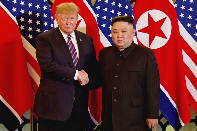 A video grab shows US President Donald J. Trump (L) and North Korean leader Kim Jong-un (R) shake hands during the second US-North Korea summit in Hanoi, Vietnam, 27 February 2019. EPA-EFE/RITCHIE B. TONGO