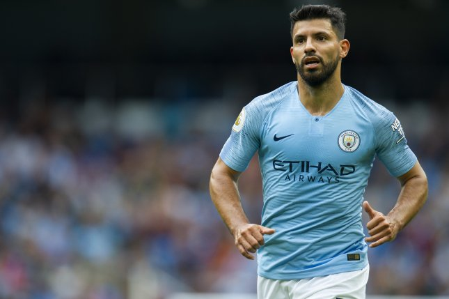 Manchester City's Sergio Aguero in action during a English Premier League soccer match between Manchester City and Huddersfield Town on August 19 at the Etihad Stadium in Manchester, Britain. Photo by Peter Powell/EPA-EFE