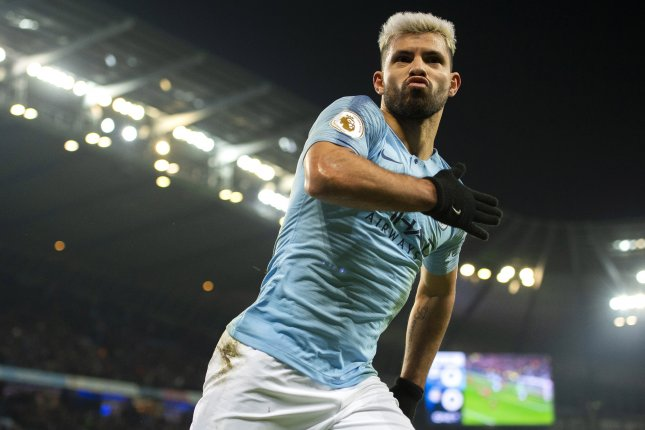 Manchester City's Sergio Aguero scored the fastest goal of the Premier League season during a 2-1 loss to Newcastle on Tuesday in Newcastle upon Tyne, England. Photo by Peter Powell/EPA-EFE