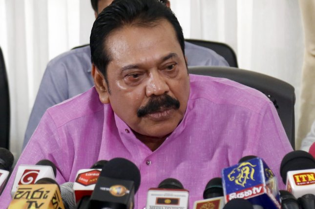 New Sri Lankan Prime Minister Mahinda Rajapaksa previously served two terms as president before he was voted out amid accusations of corruption. File Photo by M.A. Pushpa Kumara/EPA-EFE