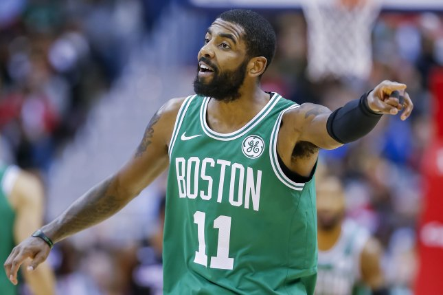 Boston Celtics guard Kyrie Irving scored a game-high 40 points in a win against the Philadelphia 76ers on Tuesday at TD Garden in Boston. Photo by Erik S. Lesser/EPA-EFE