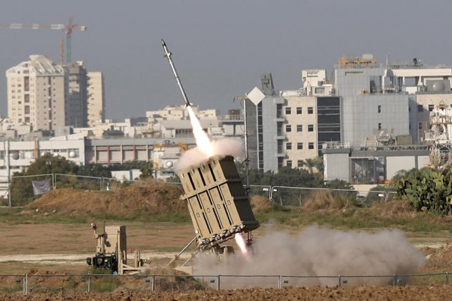 Israel's Iron dome missile defense system intercepts rockets fired from Gaza into Israel on November 12, 2019. File Photo by Atef Safadi/EPA-EFE