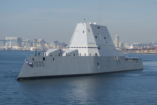 The guided-missile destroyer USS Zumwalt, DDG-1000, arrives at its new homeport in San Diego in December 2016. File Photo by Emiline L. M. Senn/U.S. Navy
