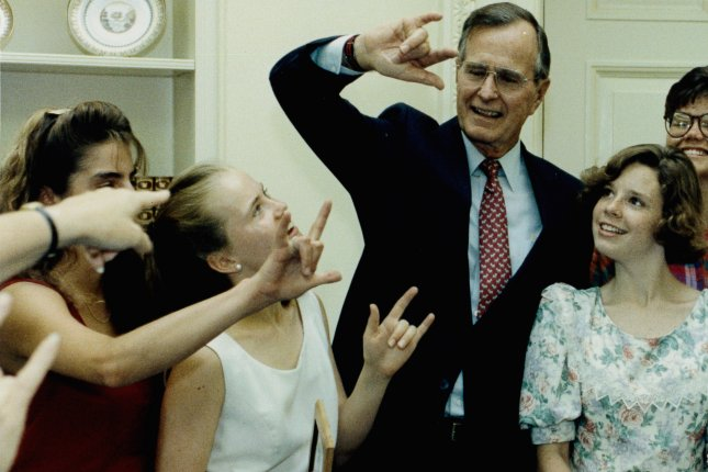 President George H.W. Bush was hospitalized in Portland, Maine, on Wednesday after a fall in the family's home in Kennebunkport. UPI File Photo