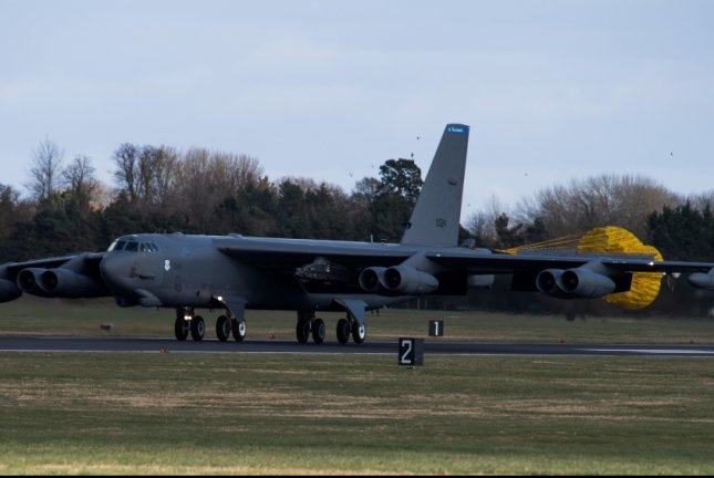 A B-52 Stratofortress deployed from Barksdale Air Force Base in Louisiana lands on the flightline in support of U.S. Strategic Command's Bomber Task Force in Europe at RAF Fairford, Britain on March 14. The Pentagon has deployed four of the bombers to Iran amid rising tensions. Photo by Airman 1st Class Tessa B. Corrick/U.S. Air Force