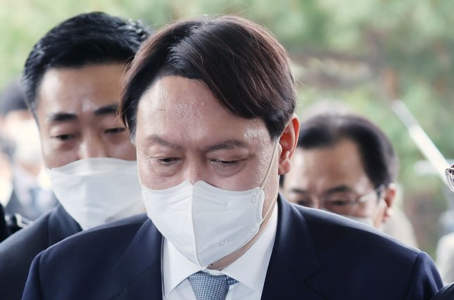 Former Prosecutor General Yoon Seok-youl ranked No. 1 in a South Korean presidential poll that showed Yoon leading over potential rivals. Yoon has not made a formal campaign announcement. File Photo by Yonhap/EPA-EFE