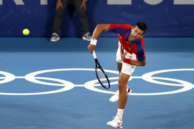 Novak Djokovic of Serbia (pictured) beat Kei Nishikori of Japan to advance to the men's semifinals at the 2020 Summer Games on Thursday in Tokyo. Photo by Rungroj Yongrit/EPA-EFE