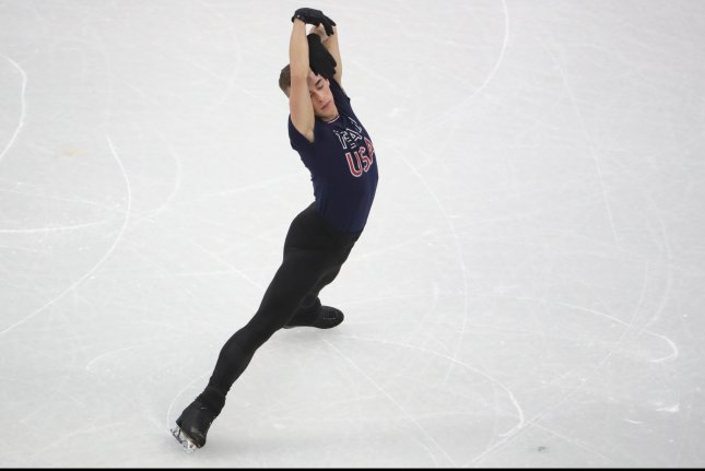 Team USA figure skater Adam Rippon practices Wednesday at the Gangneung Ice Arena in South Korea. Photo by Tatyana Zenkovich/EPA-EFE