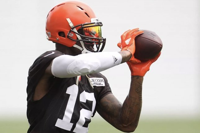 Cleveland Browns wide receiver Josh Gordon makes a catch during OTAs on May 30 in Berea, Ohio. Photo courtesy of the Cleveland Browns.