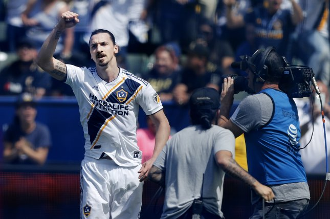Los Angeles Galaxy striker Zlatan Ibrahimovic tallied 52 goals and 17 assists in 53 starts for the Galaxy. File Photo by Paul Buck/EPA-EFE