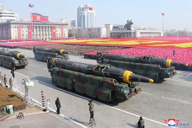North Korea is expected to showcase new weapons during a military parade on the 75th anniversary of the Korean Workers' Party on Saturday. File Photo by KCNA/EPA-EFE