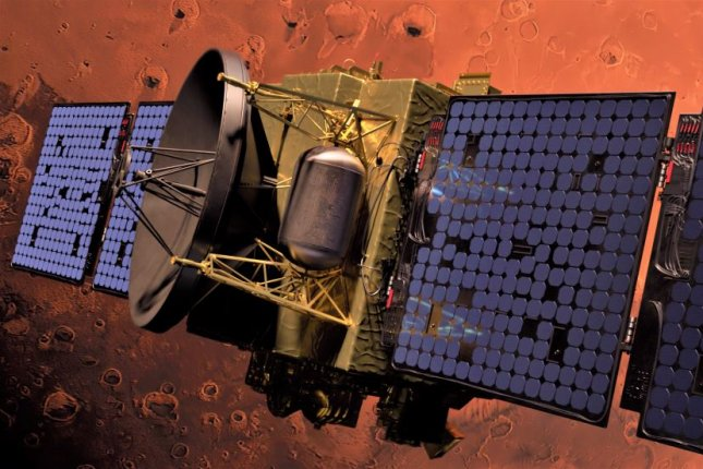 An illustration shows the Emirates Mars Mission orbiter, Hope, in orbit around Mars, where it is to  analyze the Martian atmosphere. Image courtesy of Mohammed Bin Rashid Space Centre