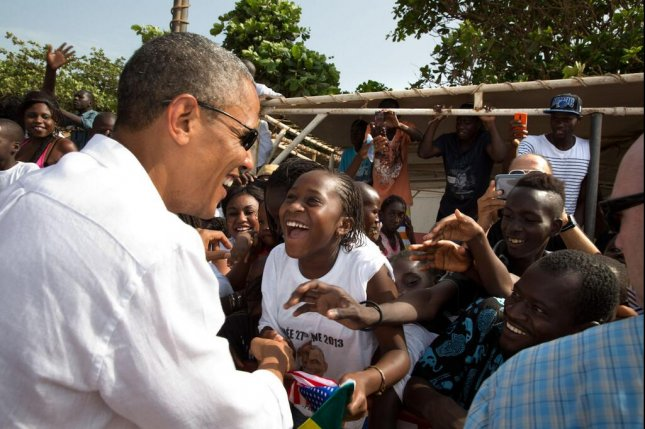 President Barack Obama greets youngsters in Senegal on June 27, 2013. The White House announced Monday that Obama will return to Africa in July for his first official trip to Kenya, the nation of his father's birth. File Photo by Pete Souza/White House/UPI.
