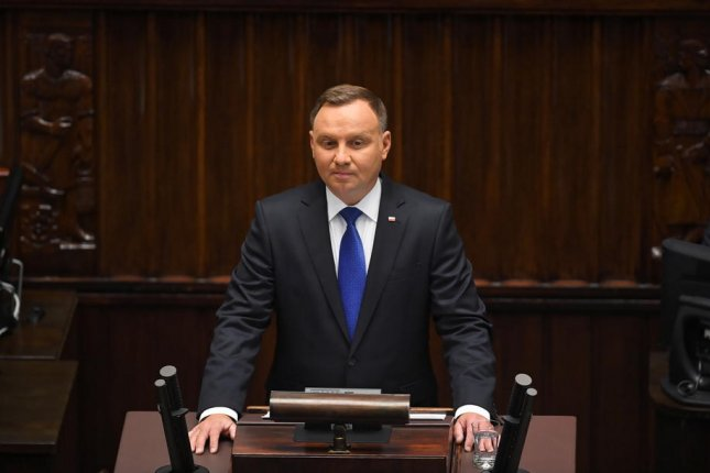 Polish President Andrzej Duda speaks during Thursday's swearing-in ceremony before the National Assembly of the Republic of Poland in Warsaw, Poland. Photo by Radek Pietruszka/EPA-EFE