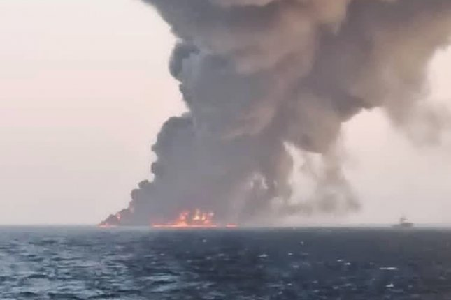 The U.S. warned Venezuela that two Iranian military vessels traveling to Venezuela may be carrying arms, more than a week after another Iranian navy ship, Kharg, sank on June 1. Photo by Iran State TV/EPA-EFE