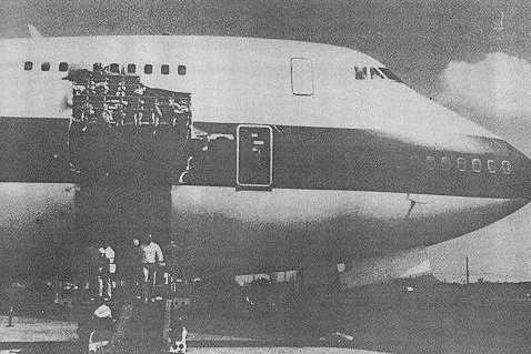 On February 24, 1989, nine people were killed when a 10-by-40-foot section of a United Airlines 747 ripped away from the jetliner's outer skin on a flight from Hawaii to New Zealand. File Photo courtesy of the National Transportation Safety Board