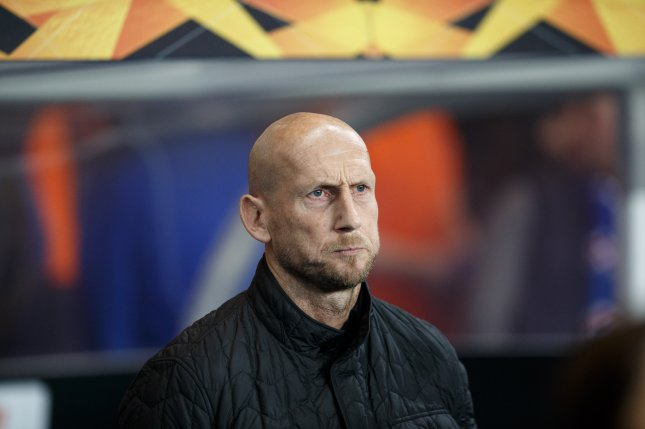 Jaap Stam, shown in 2019, joined the FC Cincinnati coaching staff Thursday after stints at England's Reading and in Holland at PEC Zwolle and Feyenoord. File Photo by Robert Perry/EPA-EFE