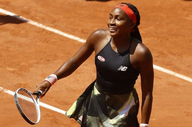 American Coco Gauff (pictured) beat Ons Jabeur of Tunisia in straight sets in the fourth round of the 2021 French Open on Monday at Roland Garros in Paris. Photo by Ian Langsdon/EPA-EFE