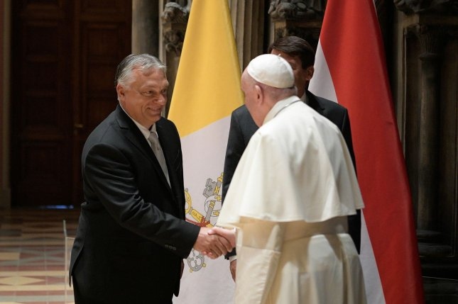 Pope Francis called on Hungary to remain open to immigrants after meeting with Prime Minister Viktor Orban. Photo by Vatican Media Handout/EPA-EFE