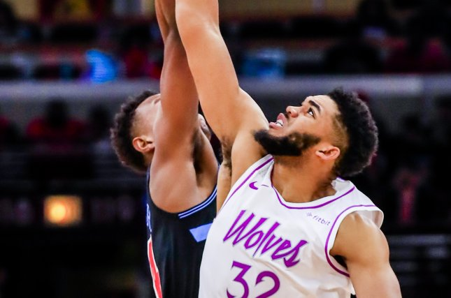 Minnesota Timberwolves star Karl-Anthony Towns had a game-high 34 points, including a windmill dunk against the Sacramento Kings on Monday in Minneapolis. Photo by Tannen Maury/EPA-EFE