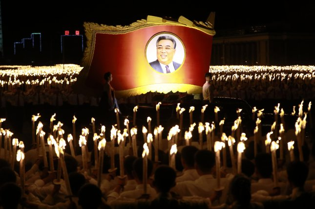 North Korean state media said Thursday the country marked the 109th birth anniversary of Kim Il Sung with celebrations in Pyongyang. File Photo by How Hwee Young/EPA-EFE