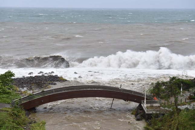 When waves, tides or storm surges breach natural or artificial barriers, whether dunes or a flood wall, it is called coastal overtopping. Photo courtesy of the government of Guadeloupe